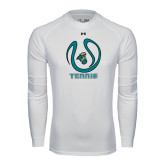 Under Armour White Long Sleeve Tech Tee-Tennis Ball Design