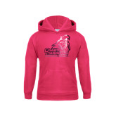 Youth Raspberry Fleece Hood-Official Logo Foil
