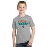 Youth Grey T-Shirt-Coastal Carolina Stacked