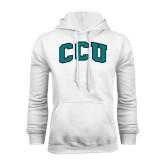 White Fleece Hoodie-Arched CCU