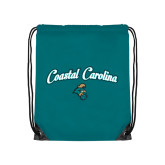 Teal Drawstring Backpack-Coastal Carolina Arched