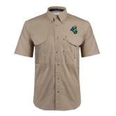 Khaki Short Sleeve Performance Fishing Shirt-Chanticleer Head