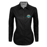 Ladies Black Twill Button Down Long Sleeve-2016 National Champions