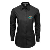Ladies Black Tonal Pattern Long Sleeve Shirt-2016 National Champions