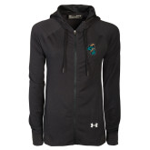 Ladies Under Armour Black Varsity Full Zip Hoodie-Chanticleer Head