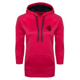 Ladies Pink Raspberry Tech Fleece Hooded Sweatshirt-Chanticleer Head