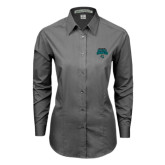 Ladies Grey Tonal Pattern Long Sleeve Shirt-2016 NCAA College World Series Baseball Champions Polo