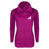 Ladies Sport Wick Stretch Full Zip Deep Berry Jacket-Official Logo