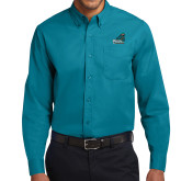 Teal Green Twill Button Down Long Sleeve-Official Logo