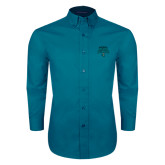 Teal Green Twill Button Down Long Sleeve-2016 NCAA College World Series Baseball Champions Polo