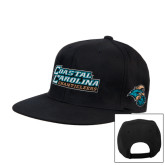 Black Flat Bill Snapback Hat-Coastal Carolina Chanticleers