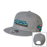 Heather Grey Wool Blend Flat Bill Snapback Hat-Coastal Carolina Chanticleers