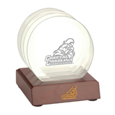 Glass Coaster Set w/ wood base-Official Logo Engraved