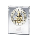 Grand Crystal Clock in Rosewood Box-Official Logo Engraved, Personalized