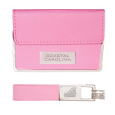 Business Card Case and Key Ring Set Pink-Coastal Carolina Engraved