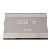 Dual Texture Silver Business Card Holder-Coastal Carolina Engraved, Personalized