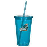 Madison Double Wall Turquoise Tumbler w/Straw 16oz-Official Logo