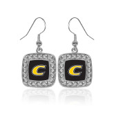 Crystal Studded Square Pendant Silver Dangle Earrings-C Primary Mark