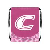 Nylon Zebra Pink/White Patterned Drawstring Backpack-C Primary Mark