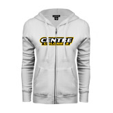 ENZA Ladies White Fleece Full Zip Hoodie-Centre Colonels