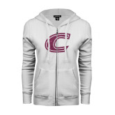 ENZA Ladies White Fleece Full Zip Hoodie-C Pink Glitter