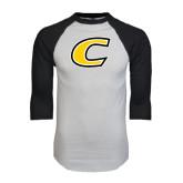 White/Black Raglan Baseball T-Shirt-C