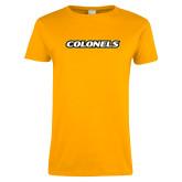 Ladies Gold T Shirt-Colonels Team Wordmark