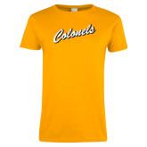 Ladies Gold T Shirt-Colonel Script