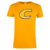 Ladies Gold T Shirt-Centre Colonels Wordmark Distresses
