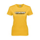 Ladies Gold T Shirt-Centre Colonels