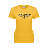 Ladies Gold T Shirt-Football with Wings