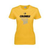 Ladies Gold T Shirt-Basketball Hanging Net