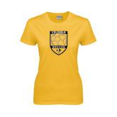 Ladies Gold T Shirt-Soccer Shield