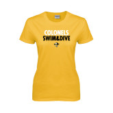 Ladies Gold T Shirt-Swim and Dive Stacked