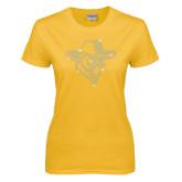 Ladies Gold T Shirt-Colonel Head Crystal Rhinestones