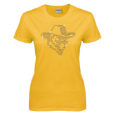Ladies Gold T Shirt-Colonel Head Gold Rhinestones