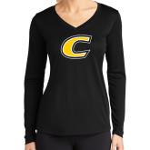 Ladies Syntrel Performance Black Longsleeve Shirt-C Primary Mark