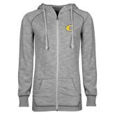 ENZA Ladies Grey/Black Marled Full Zip Hoodie-C Primary Mark