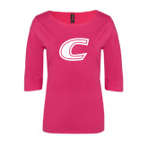 Ladies Dark Fuchsia Perfect Weight 3/4 Sleeve Tee-C
