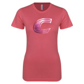 Next Level Ladies SoftStyle Junior Fitted Pink Tee-C Primary Mark Foil
