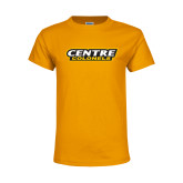 Youth Gold T Shirt-Centre Colonels Wordmark