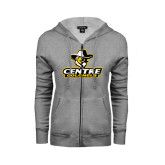 ENZA Ladies Grey Fleece Full Zip Hoodie-Primary Logo