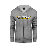 ENZA Ladies Grey Fleece Full Zip Hoodie-Centre Colonels