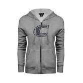 ENZA Ladies Grey Fleece Full Zip Hoodie-C Graphite Soft Glitter