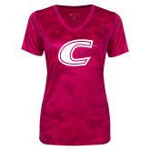 Ladies Pink Raspberry Camohex Performance Tee-C Primary Mark