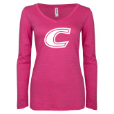 ENZA Ladies Hot Pink Long Sleeve V Neck Tee-C Primary Mark