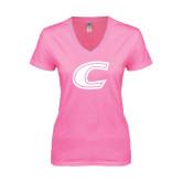 Next Level Ladies Junior Fit Ideal V Pink Tee-C
