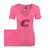Next Level Ladies Vintage Pink Tri Blend V-Neck Tee-C Hot Pink Glitter