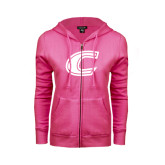 ENZA Ladies Fuchsia Fleece Full Zip Hoodie-C