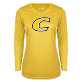 Ladies Syntrel Performance Gold Longsleeve Shirt-C Primary Mark